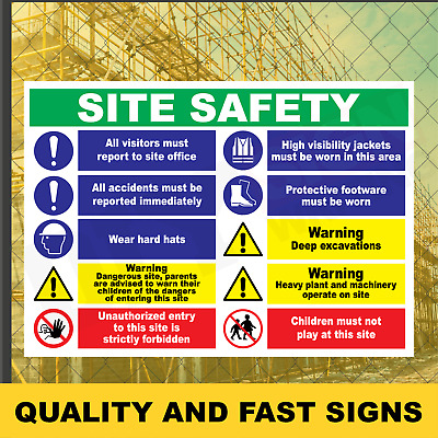Site Safety Builder Construction Prints Full Colour Sign Printed Heavy Duty 3944