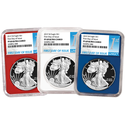 2019-W Proof $1 American Silver Eagle 3pc. Set NGC PF69UC FDI First Label Red Wh