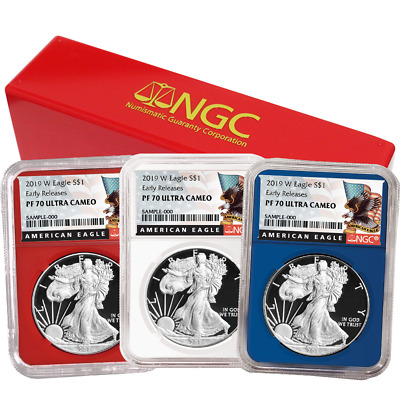 2019-W Proof $1 American Silver Eagle 3pc. Set NGC PF70UC Black ER Label Red Whi