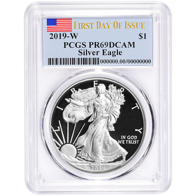 2019-W Proof $1 American Silver Eagle PCGS PR69DCAM FDOI Flag Label
