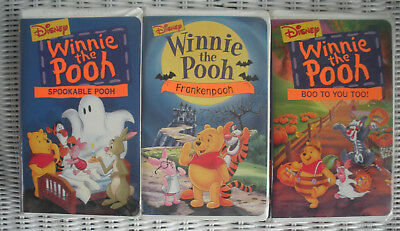 3 Halloween Disney Winnie The Pooh Vhs Tapes~Boo To You ~Spookable ~ Frankenpooh