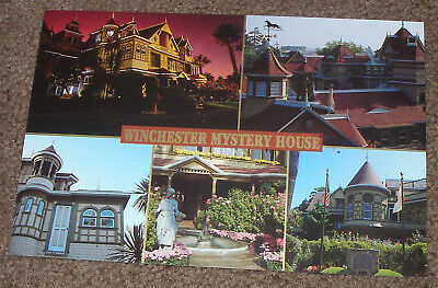 San Jose,Ca. - Winchester Mystery House Retired Postcard - 5 Panel Views