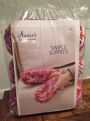 New Annie's Caring Crochet Kit Club Simple Slippers CKC04Factory Sealed
