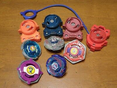 Beyblade Lot of 5 Beyblades w/Rip Cord & Wrenches Some Vintage Metal
