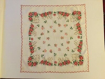 Vintage Christmas Hankie Poinsettias, Holly & Berries & Ornaments
