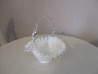 Vintage Fenton Milk Glass Basket With Clear Glass Handle & Ruffles
