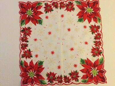 Vintage Christmas Hankie Poinsettias & snowflakes w/ Scalloped Edges