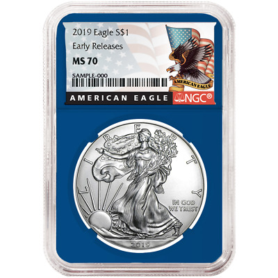 2019 $1 American Silver Eagle NGC MS70 Black ER Label Blue Core