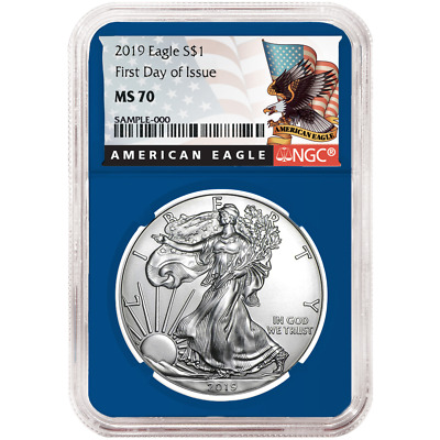 2019 $1 American Silver Eagle NGC MS70 FDI Black Label Blue Core