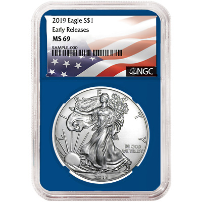 2019 $1 American Silver Eagle NGC MS69 Flag ER Label Blue Core