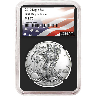 2019 $1 American Silver Eagle NGC MS70 FDI Flag Label Retro Core