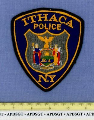ITHACA (Old Vintage) NEW YORK Sheriff Police Patch STATE SEAL CHEESECLOTH