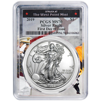 2019 $1 American Silver Eagle PCGS MS70 FDOI West Point Frame