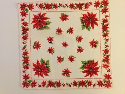 Vintage Christmas Hankie Beautifully Elegant Poinsettias