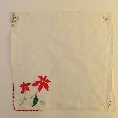 Vintage Christmas Hankie Embroidered & Appliqued Poinsettia Madeira Linen NOS
