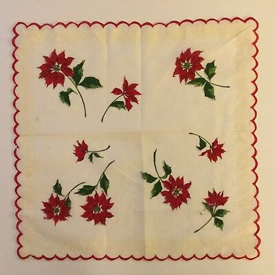 Vintage Christmas Hankie Poinsettias border of white Holly & Berries