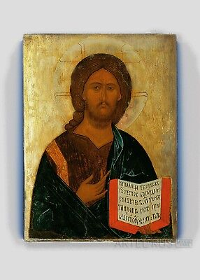 Copy of an antique Russian Orthodox icon. Jesus Christ. Pantokra. Vintage Decor.