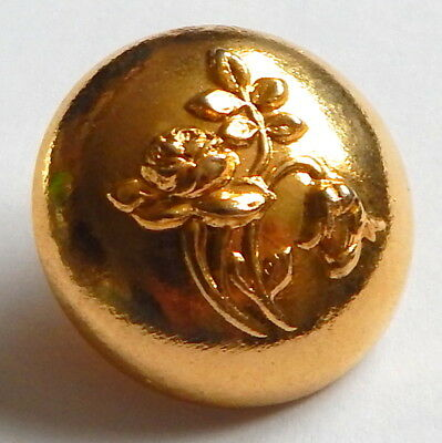 ANTIQUE 1930'S-40'S HIGH GILT BRASS DOME BUTTON w/ROSE & TULIP FLOWERS IN RELIEF