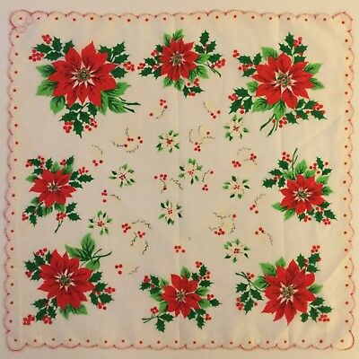 Vintage Christmas Hankie Poinsettias, Holly & Berries w/ Scalloped Edges