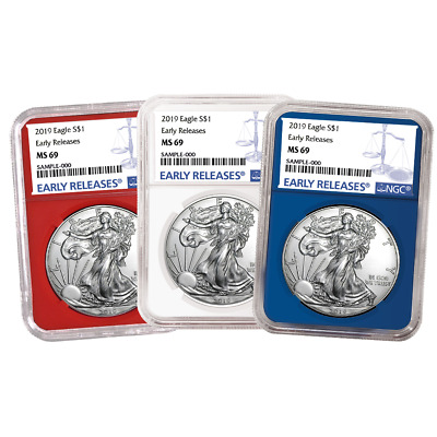 2019 $1 American Silver Eagle 3 pc. Set NGC MS69 Blue ER Label Red White Blue