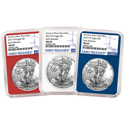2019 (W) $1 American Silver Eagle 3 pc. Set NGC MS69 Blue ER Label Red White Blu