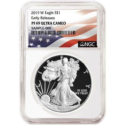 2019-W Proof $1 American Silver Eagle NGC PF69UC Flag ER Label