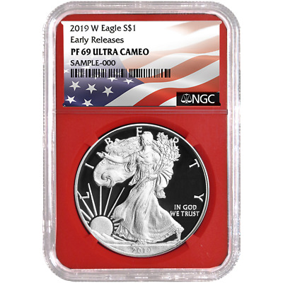 2019-W Proof $1 American Silver Eagle NGC PF69UC Flag ER Label Red Core