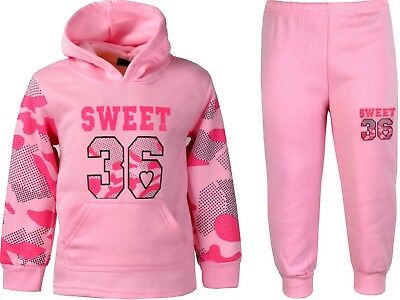 Girls Tracksuits Camouflage Jogging Suits Hoodie Joggers Kids Clothes Ages 2-12y
