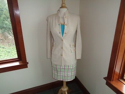 ST.JOHN Womens size 2 Skirt Suit Plaid and Cream PLUS FREE TANK TOP