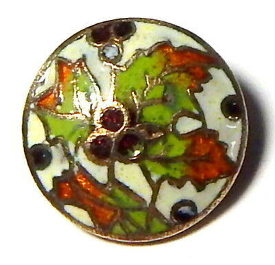 """ANTIQUE 19th CENTURY BRASS BUTTON w/CHAMPLEVE ENAMEL """"HOLLY LEAVES & BERRIES"""""""