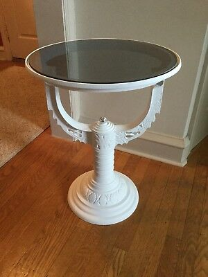 Upcycled Kerosene Holder Cast Aluminum Industrial Side Table-Gray Glass Top *267
