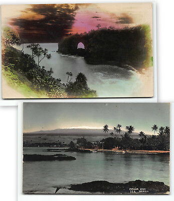 2fer LOT of 2 Hawaii Island Hand-tinted Real Photo Postcard RPPC