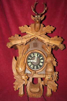 """Vintage Large 24"""" Tall E. Schmeckenbecher 8 Day Cuckoo Clock - As Found Untested"""