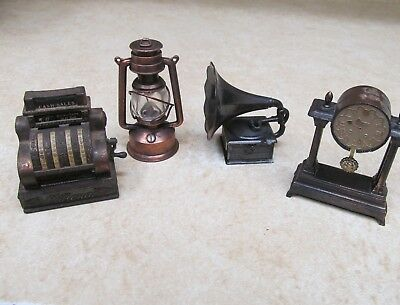 4 Vintage Metal Pencil Sharpeners, National Register, Gramophone, Clock, Lantern