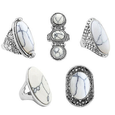 10pcs Mixed Design White Turquoise Rings For Women Wholesale Lot Fashion Jewelry