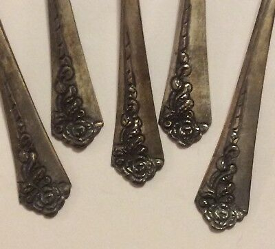 "Antique Vintage 5 Indonesian 4"" Silver Spoons Sculptured Floral Pattern Handles"