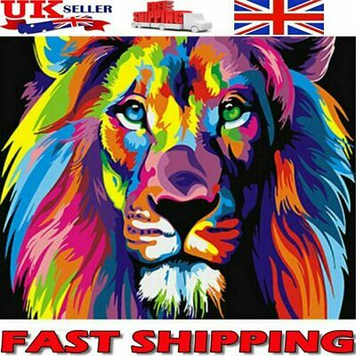 DIY Filling Oil Canvas Paint By Number Kit Multi-Colored Lion Animals Painting R