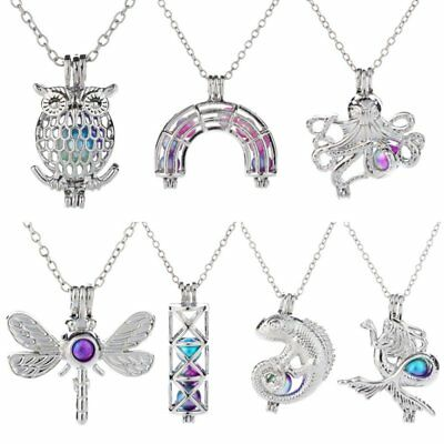 Fashion Women Silver Mermaid Butterfly Owl Pendant Necklace Long Chain Jewelry