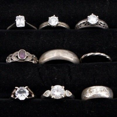 VTG Sterling Silver - Lot of 9 Assorted Gemstone & Solid Rings NOT SCRAP - 27.2g