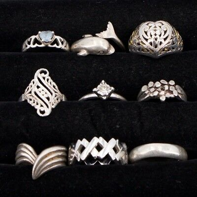 VTG Sterling Silver - Lot of 9 Assorted Gemstone & Solid Rings NOT SCRAP - 30.2g