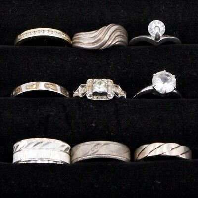 VTG Sterling Silver - Lot of 9 Assorted Gemstone & Solid Rings NOT SCRAP - 27.9g