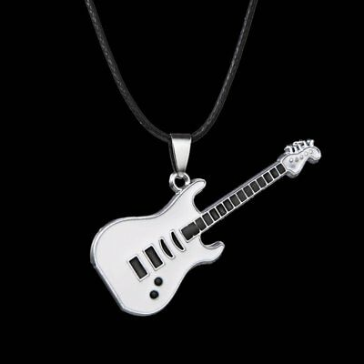 Stainless Steel Women Men Guitar Leather Chain Choker Pendant Necklace Jewelry