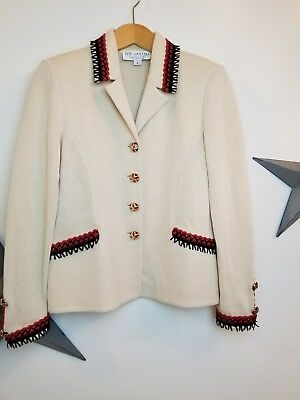 ST. JOHN Collection By Marie Gray Knit Blazer Ivory Red Black jewel buttons 2