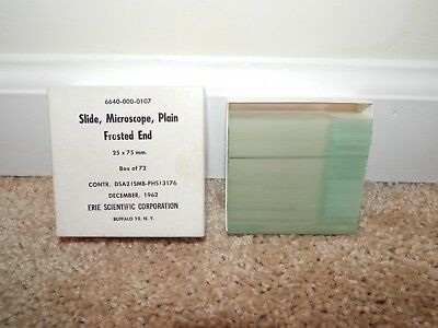Vintage 1962 Frosted End Microscope Slides Buffalo, NY Erie Scientific Corp.