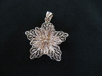 Fabulous Vermeil Gold over Sterling Silver Handcrafted Filigree Flower Pendant