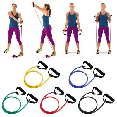 Fitness Resistance Band Rope Tube Elastic Exercise For Yoga Pilates Workout CA