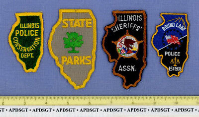ILLINOIS STATE SHAPE HAT PATCH COLLECTION 4 Patches Sheriff Patch DNR ROUND LAKE