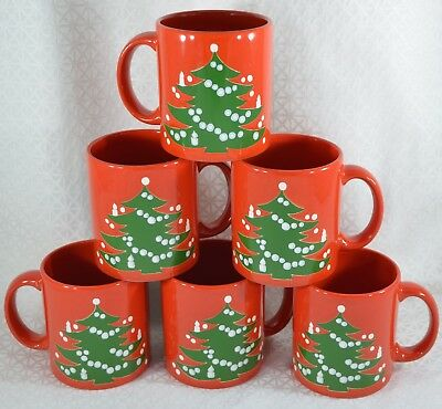 "6 Red & Green WAECHTERSBACH CHRISTMAS TREE  3 3/4"" Holiday MUGS Retired GERMANY"