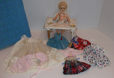 "1950s MADAME ALEXANDER LITTLE GENIUS 7"" DOLL/CHRISTENING OUTFIT + LOTS MORE/MINT"