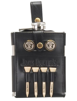 Jack Daniels Embossed Old No. 7 Hip Flask - Callaway Warbird Leather Brand New